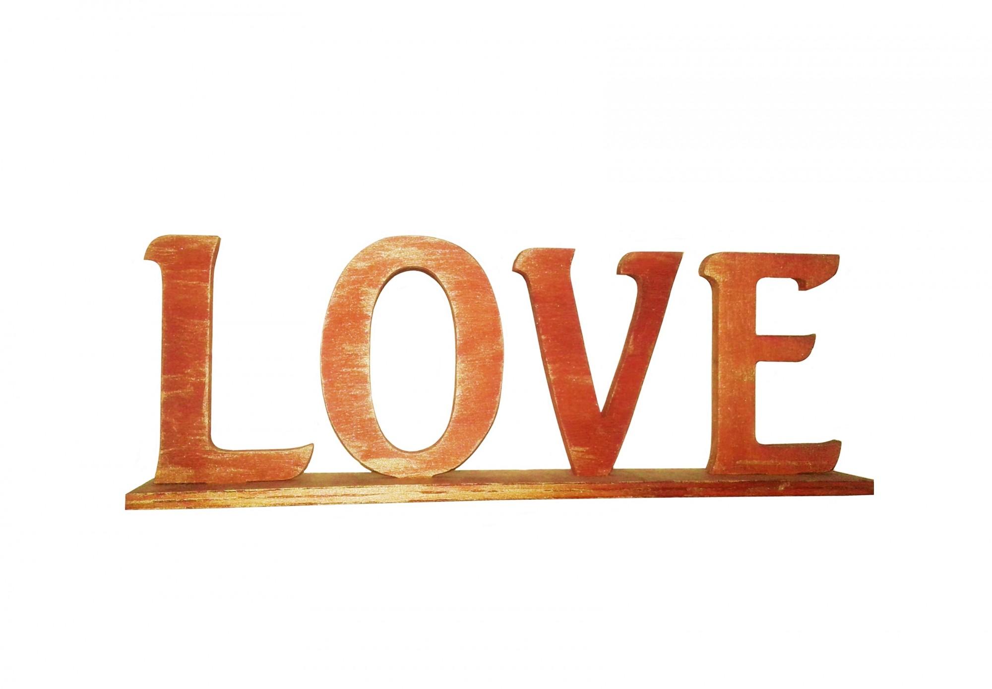 Scritta Love In Legno Con Piedistallo